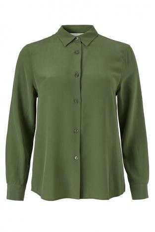 91de72120a91 Bianca Straight Shirt Moss Green Stripe